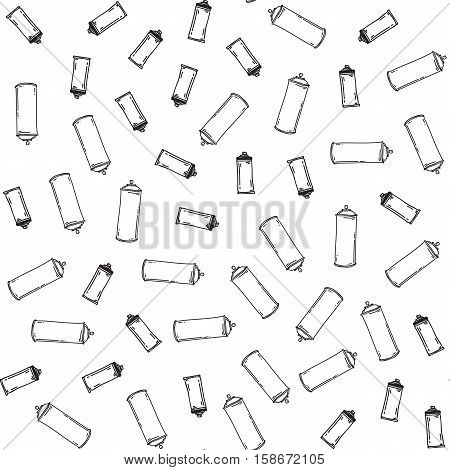 Graffiti black graphic spray can cartoon doodle, sketch grunge vector illustration. Seamless vector pattern