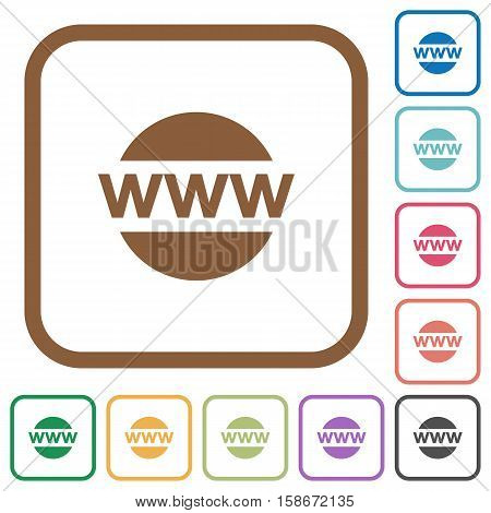 Domain name simple icons in color rounded square frames on white background
