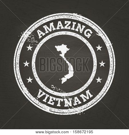 White Chalk Texture Vintage Stamp With Socialist Republic Of Vietnam Map On A School Blackboard. Gru