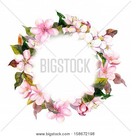 Floral round crown, wreath with pink flowers - apple, cherry blossom for postcard. Aquarelle