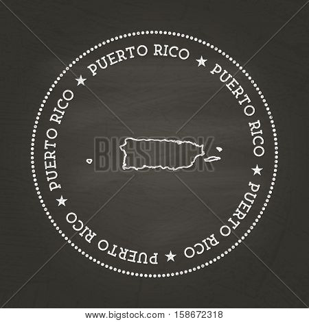 White Chalk Texture Vintage Seal With Commonwealth Of Puerto Rico Map On A School Blackboard. Grunge