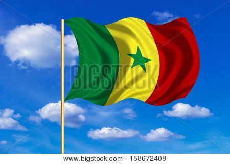 Senegalese national official flag. African patriotic symbol banner element background. Correct colors. Flag of Senegal on flagpole waving in the wind blue sky background. Fabric texture. 3D rendered illustration
