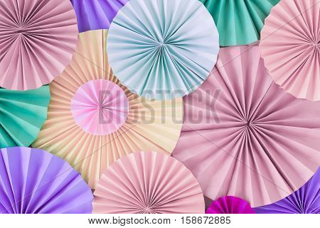 Pastel Romantic Background Wall With Multicoloured Paper Circles