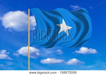 Somali national official flag. African patriotic symbol banner element background. Correct colors. Flag of Somalia on flagpole waving in the wind blue sky background. Fabric texture. 3D rendered illustration