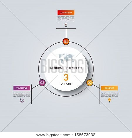 Linear infographic circle template with 3 options. Vector banner for business infographics. Can be used for cycle diagram, round chart, graph, presentation, report, step options, web design.