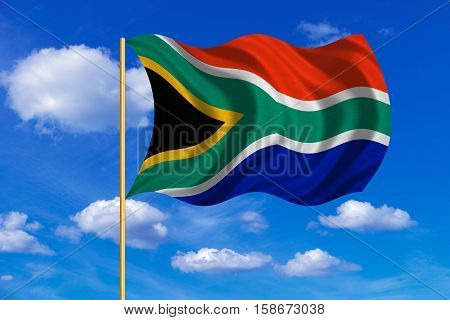 South African national official flag. Patriotic symbol banner element background. Correct colors. Flag of South Africa on flagpole waving in the wind blue sky background. Fabric texture. 3D rendered illustration