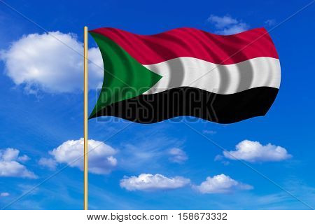 Sudanese national official flag. African patriotic symbol banner element background. Correct colors. Flag of Sudan on flagpole waving in the wind blue sky background. Fabric texture. 3D rendered illustration