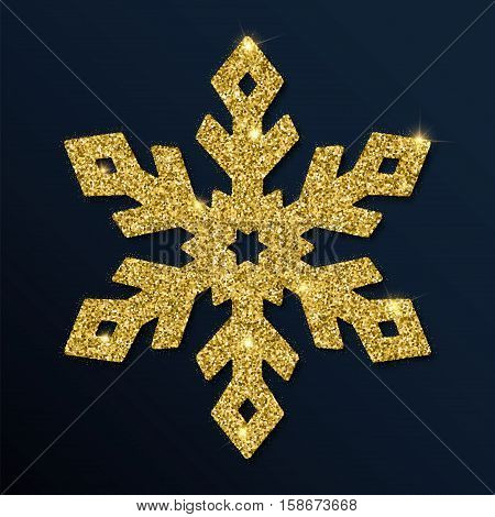 Golden Glitter Marvelous Snowflake. Luxurious Christmas Design Element, Vector Illustration.