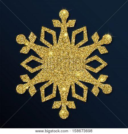 Golden Glitter Shapely Snowflake. Luxurious Christmas Design Element, Vector Illustration.