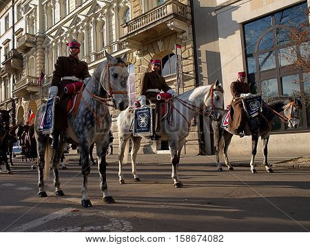 Warsaw, Poland - November 11, 2013 The soldiers of the Polish Army cavalry squadrons for collection before the parade in Warsaw on Polish Independence Day.