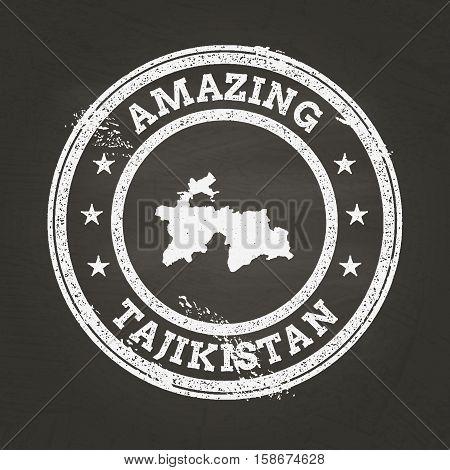 White Chalk Texture Vintage Stamp With Republic Of Tajikistan Map On A School Blackboard. Grunge Rub