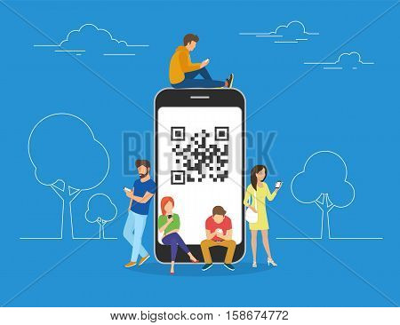 QR code concept illustration of young people scanning barcode using mobile smartphone for online shopping and payment. Flat young men and women standing near big smartphone with qr symbol on screen