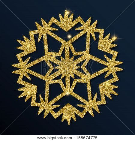 Golden Glitter Graceful Snowflake. Luxurious Christmas Design Element, Vector Illustration.