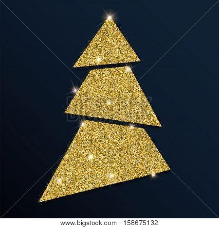 Golden Glitter Awesome Christmas Tree. Luxurious Christmas Design Element, Vector Illustration.