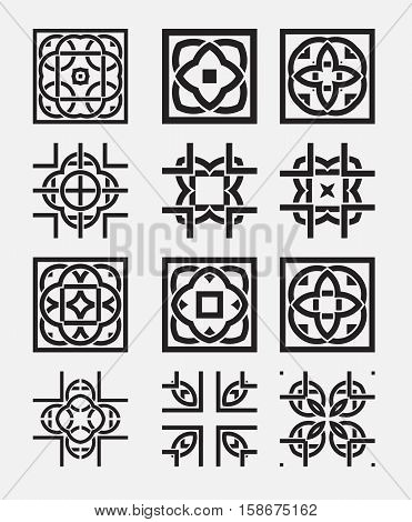 Tile element tribal celtic knot pattern. Background design set. Collection of vector elements for wallpaper and seamless patterns.