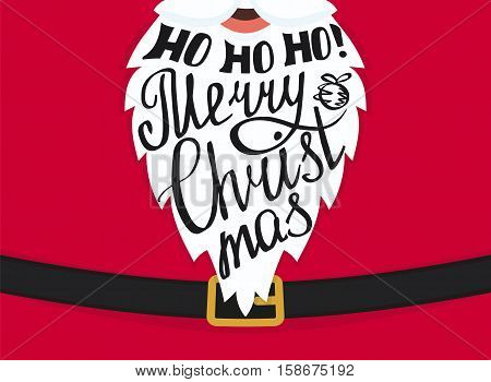 Ho ho ho Merry Christmas handmade lettering on the Santa Claus white beard. Xmas greeting card template landscape design. Handwritten inscription with swirls and ornaments