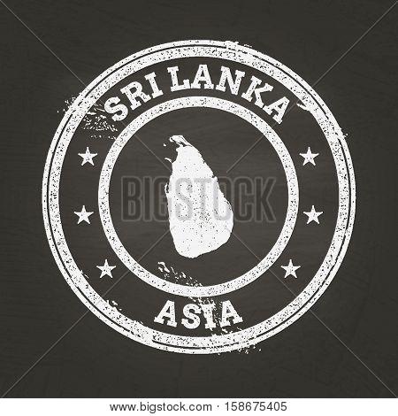 White Chalk Texture Grunge Stamp With Democratic Socialist Republic Of Sri Lanka Map On A School Bla