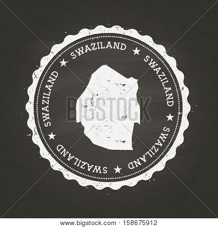 White Chalk Texture Rubber Stamp With Kingdom Of Swaziland Map On A School Blackboard. Grunge Rubber