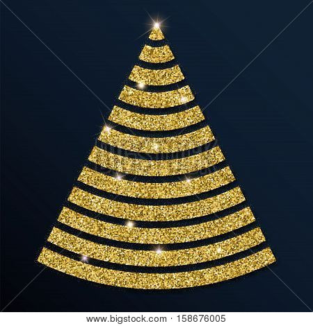 Golden Glitter Magnificent Christmas Tree. Luxurious Christmas Design Element, Vector Illustration.
