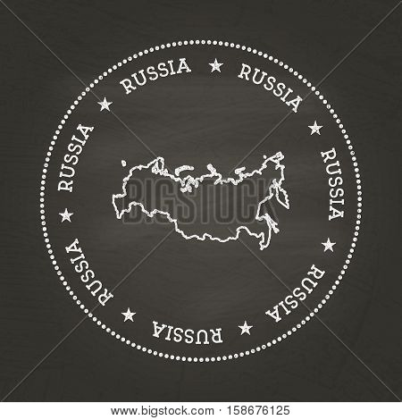 White Chalk Texture Vintage Seal With Russian Federation Map On A School Blackboard. Grunge Rubber S