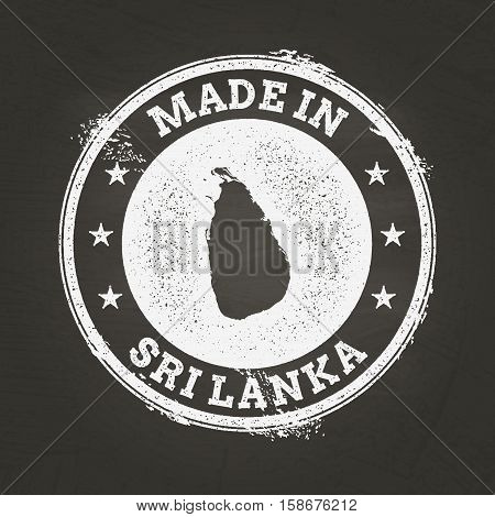 White Chalk Texture Made In Stamp With Democratic Socialist Republic Of Sri Lanka Map On A School Bl