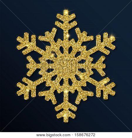 Golden Glitter Neat Snowflake. Luxurious Christmas Design Element, Vector Illustration.