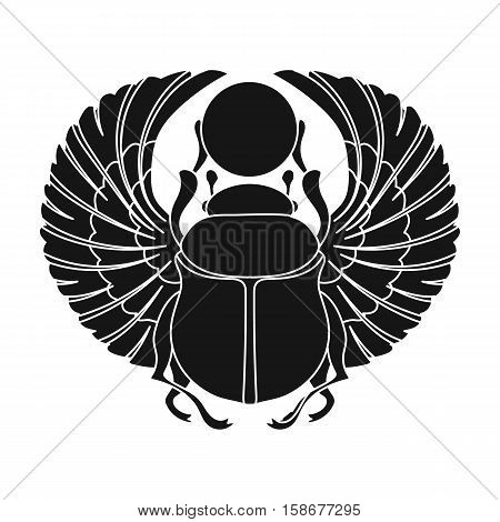 Scarab icon in black style isolated on white background. Ancient Egypt symbol vector illustration.