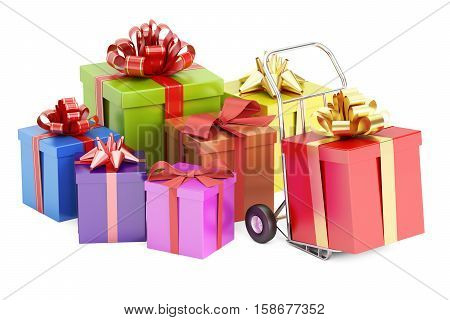 Gift Delivery Concept 3D rendering isolated on white background