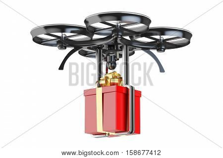 modern delivery drone with a gift box 3D rendering isolated on white background