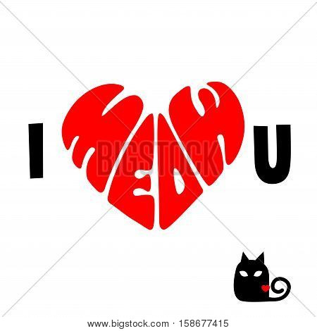 I Meow You Shape of Heart Symbol of Love