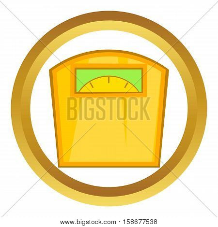 Yellow scales vector icon in golden circle, cartoon style isolated on white background