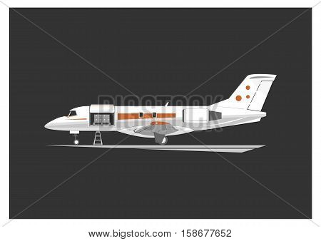 Cargo aircraft isolated on background. Vector illustration.