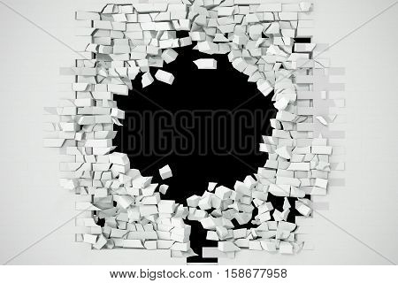Destruction of a white brick wall for pasting anything text. 3d illustration.