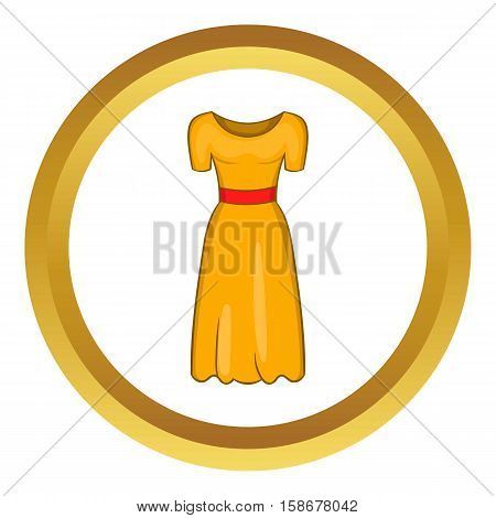 Womens fancy dress vector icon in golden circle, cartoon style isolated on white background