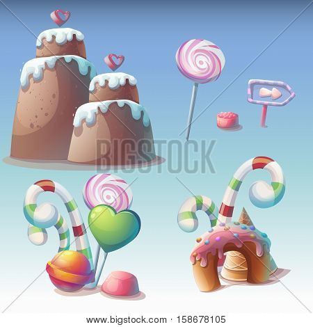 Set of caramel vector illustration. Sweet objects for print create videos or web graphic design game user interface card poster.
