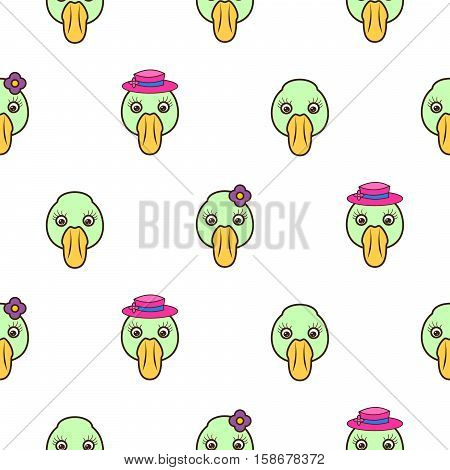 Green duck head baby pattern. Cute duck seamless vector background for kids.