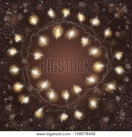 Christmas frame with fir-tree branches and luminous electric garland. Vintage Holiday background.