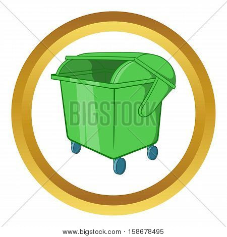 Dumpster vector icon in golden circle, cartoon style isolated on white background