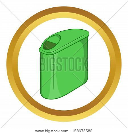 Trash can with lid vector icon in golden circle, cartoon style isolated on white background