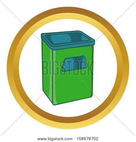 Street dustbin vector icon in golden circle, cartoon style isolated on white background