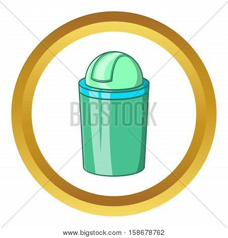 Green trash can vector icon in golden circle, cartoon style isolated on white background