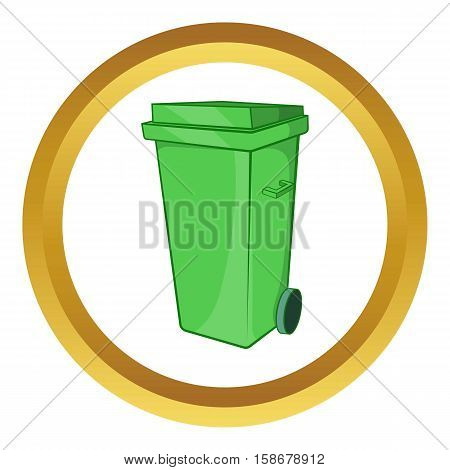 Trash can on wheels vector icon in golden circle, cartoon style isolated on white background