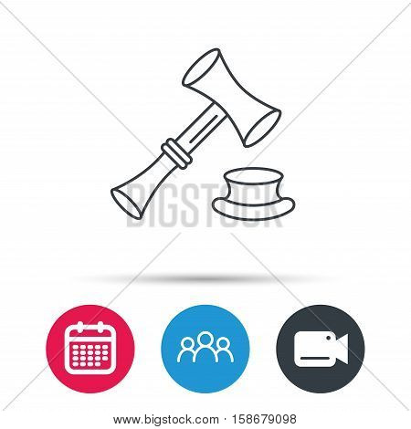 Auction hammer icon. Justice and law sign. Group of people, video cam and calendar icons. Vector