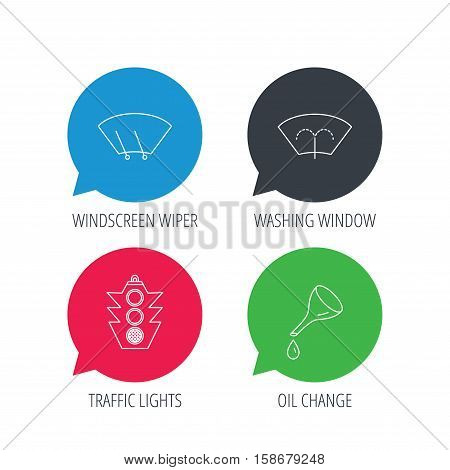 Colored speech bubbles. Motor oil change, traffic lights and wiper icons. Washing window, windscreen wiper linear signs. Flat web buttons with linear icons. Vector