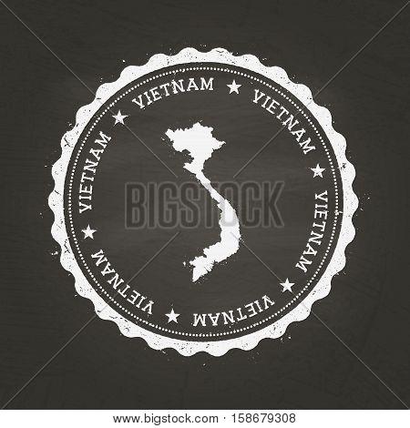 White Chalk Texture Rubber Stamp With Socialist Republic Of Vietnam Map On A School Blackboard. Grun