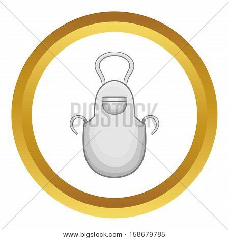 White apron vector icon in golden circle, cartoon style isolated on white background