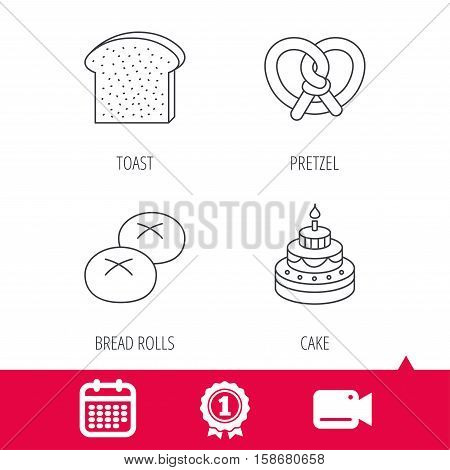 Achievement and video cam signs. Cake, pretzel and bread rolls icons. Toast linear sign. Calendar icon. Vector