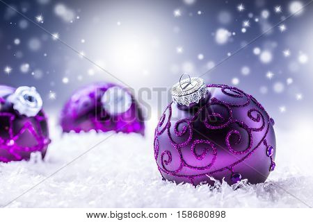 Christmas. Christmas Time. Luxury Christmas ball in the snow and snowy abstract scenes.