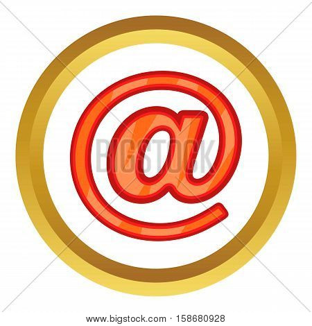 Sign e-mail vector icon in golden circle, cartoon style isolated on white background