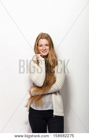 Human Pose Expressions And Emotions. Portrait Of Smiling Young Adorable Redhead Woman Showing Her Go